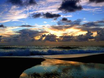 Bild mit Wolken,Strände,Wellen,Sonne,Strand,Meer,Spiegelung,Küste,Am Meer,Stille,Wattenmeer