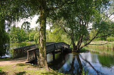 Bild mit Wasser,Pflanzen,Bäume,Gewässer,Flüsse,Sträucher,Wald,Brücke,Stille,Erholung,Schattenruheplatz,Holzbrücke,Wanderwege,Bäche