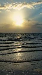 Bild mit Wellen, Sonnenuntergang, Sonne, Nordsee, Küste, Wattenmeer, Seenebel, Dollart, Ems, Wogen