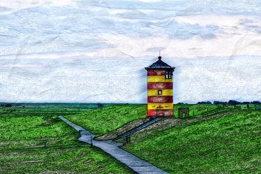 Bild mit Textur, Emden, Ostfriesland, Leuchtturm, Krummhörn, Hauen, Pilsum, Otto