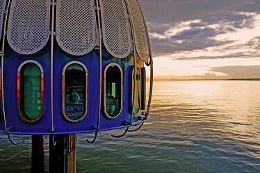 Bild mit Wolken, Urlaub, Sonne, Strand, Ostsee, Meer, Seebrücke, Küste, Reisen, Ausspannen, Abendsonne, Idylle, Zingst, Bildung, Tauchglocke