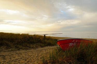 Bild mit Strand, Ostsee, boot, Meer, Düne, Stille, Ausspannen, Geniessen, Abendhimmel, Abendruhe