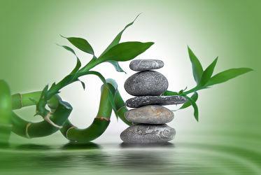 Bild mit Steine, Meditation, Blatt, Ruhe, Entspannung, Buddha, Wellness, Spa, steinstapel, Steinhaufen, zen