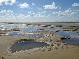 Bild mit Strände, Sand, Strand, Sandstrand, Düne, Dünen, Dünengras, Küste, Wellness, maritimes, Strandhafer, Traum, pfützen