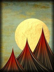 Bild mit Berge, Sonne, Illustration, Showroom Phantasie, berg, Illustrationen, chinesisch, japanisch