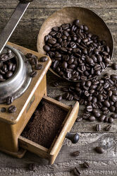Bild mit Holz, rustikal, Küchenbild, Food, Kaffeebilder, cafe, kaffee, kaffeebohnen, Antique, holzuntergrund