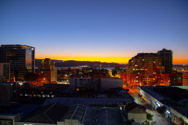 Es wird Nacht in Concepción, Chile, Südamerika.