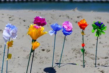 Bild mit Blumen, Sand, Strand, basteln