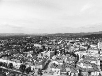 Bild mit Stadt, schwarz & weiss, ausblick, aussicht, Aussichtspunkt