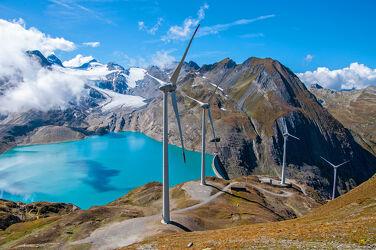 Bild mit Gletscher, Stauseen, Alpen, Bergsee, Windpark, Staudamm
