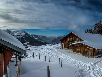 Bild mit Hütten, Alpen Panorama, Panorama, Winterlandschaften, Alpspitz