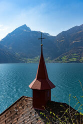 Bild mit Berge und Hügel, Berge, Landschaft, Seeblick, See, Kirche, landscape, Landschaftspanorama, kirchturm, Landschaften & Natur, Erholung, Aussichtspunkt