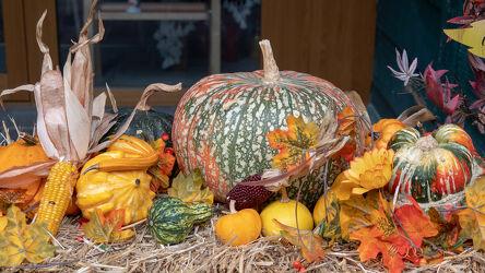Bild mit Farben, Herbst, Stroh, Makroaufnahme, Herbstblätter, Maiskolben, Zierkürbis, Formen und Stimmungen