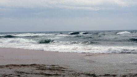 Bild mit Natur, Frühling, Wellen, Sand, Wolkenhimmel, Portugal, Algarve, launisches Wetter