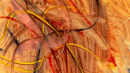 Bild mit Gelb, Rot, Abstrakte Kunst, Abstrakte Malerei, Formen und Muster, orangerot, Linien
