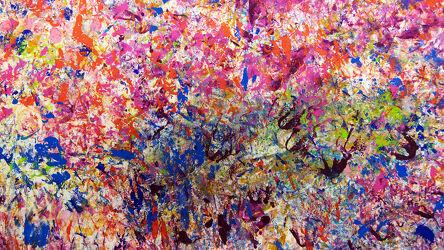 Bild mit Grün, Rosa, Blau, Abstrakte Kunst, Abstrakte Malerei, Farbenfrohe Kunst, Abstraktes in Floral
