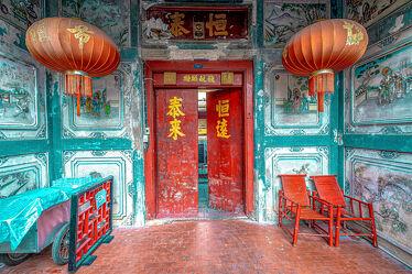 Bild mit Rot, Laternen, asien, südostasien, Tempelanlagen, Tempel, Thailand, Bangkok, Chinatown