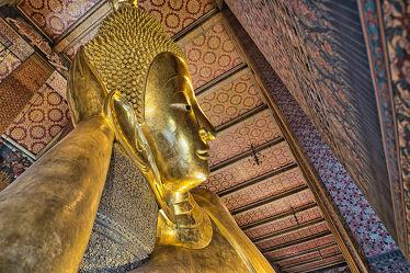 Bild mit Kunstwerk, Kunstfotografie, Buddha, Tempelanlagen, Religion, gold, BUDDHASTATUE, Bangkok, Bangkok, wat pho