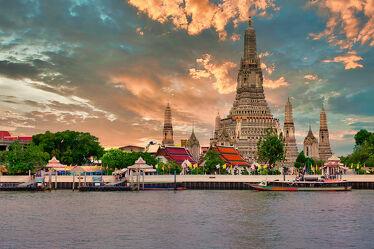 Bild mit Kunst, asien, südostasien, Tempelanlagen, Tempel, Religion, Kultur, Thailand, Bangkok, Wat Arun