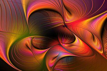 Bild mit Abstrakt, modern, Dynamisch, kreativ, Flame, farbintensiv, visuell, futuristisch, einmalig, unikat