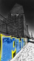 Bild mit Winter, Schnee, blue, Duisburg, Colorkey, Graffiti, Binnenhafen, Lagerhaus