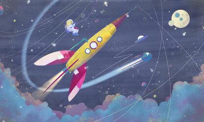 Bild mit Kinderbild, Kinderbilder, Kinderzimmer, Kinderwelt, Weltall, Astronaut, Rakete, Galaxy, Science Fiction, Raumschiff