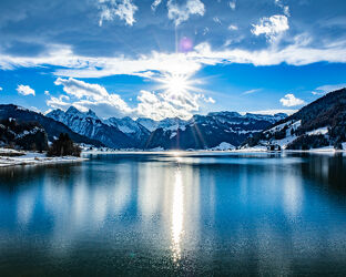 Bild mit Wasser, Winter, Seen, See, winterlandschaft, Sihlsee