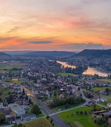Bild mit Abendrot, Panorama, Wolkenhimmel, dorf, Rhein, Luftaufnahme, Thurgau