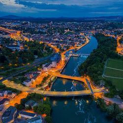 Bild mit Brücken, Panorama, Nachtaufnahme, autobahn, Luftaufnahme, Schaffhausen