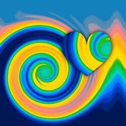 Bild mit Farben, Abstrakt, Bunt, Digital Art, Formen und Muster, Herz, Liebe